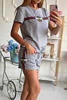 Летний Костюм майка футболка + шорты с лампасами Пчелка гуччи