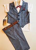 Детский костюм для мальчиков классика тройка (рубашка и ремень в комплекте) розовый , серый