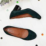 Замшевые туфли на устойчивом каблуке из натуральной замши зелёного цвета, фото 4