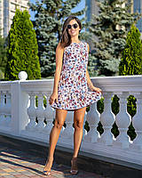 Летнее легкое платье в цветочный принт с воланом рюшем по подолу, норма и батал