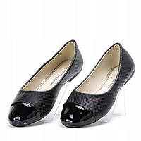 Женские балетки черного цвета с лакированным носком , фото 1