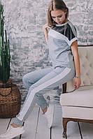 Летний Костюм майка футболка + штаны брюки с лампасами Люрекс, фото 1