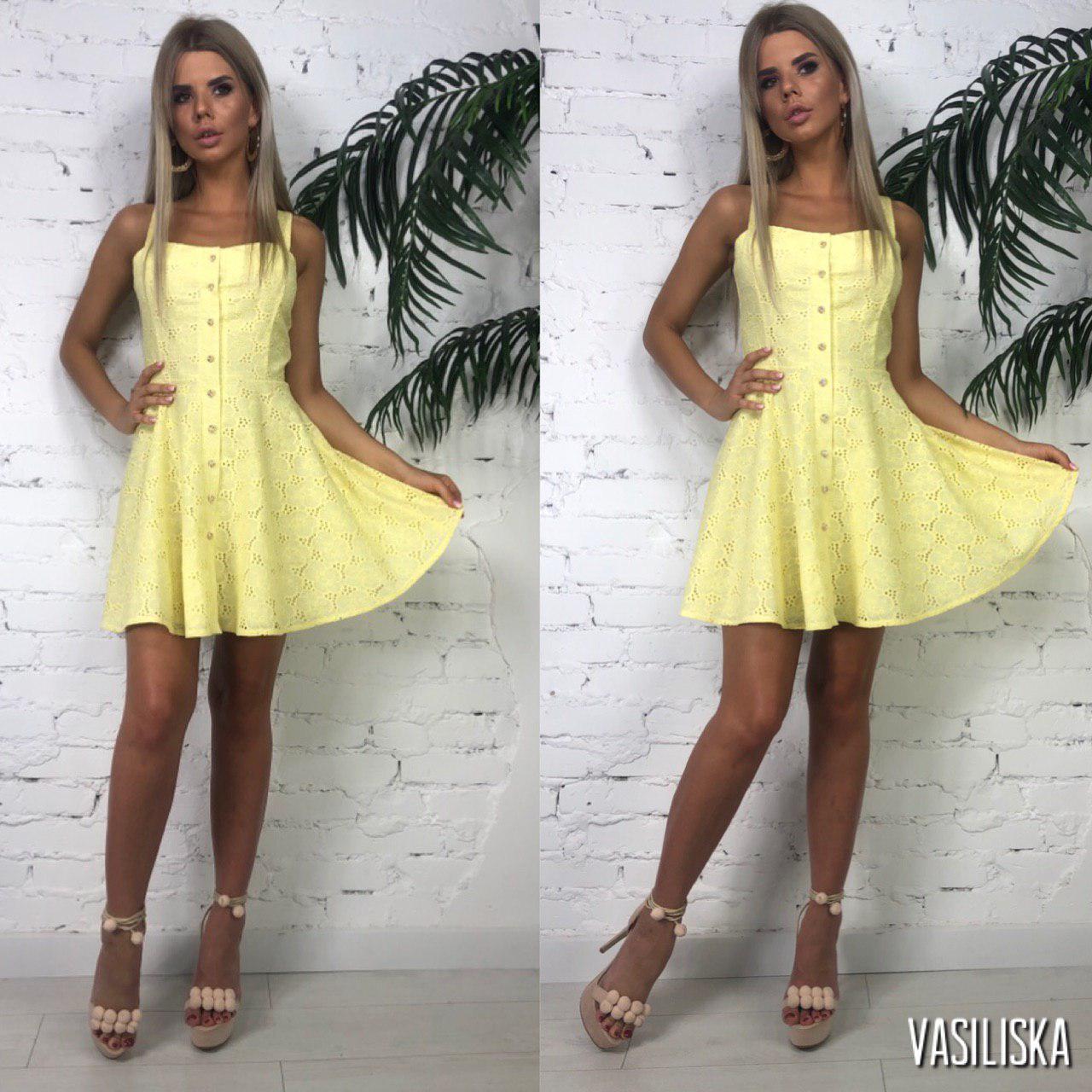 Платье женское летнее мини прошва на подкладке Желтое