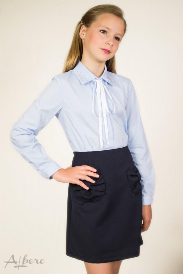 Школьная блуза голубой р.  134, 140, 146, 152, 158