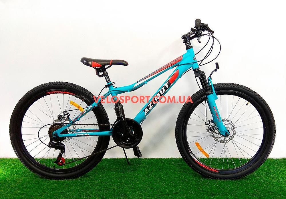 """Велосипед 26"""" Azimut Forest GD бирюзовый рама 14"""" на оборудование SHIMANO TORNEY"""
