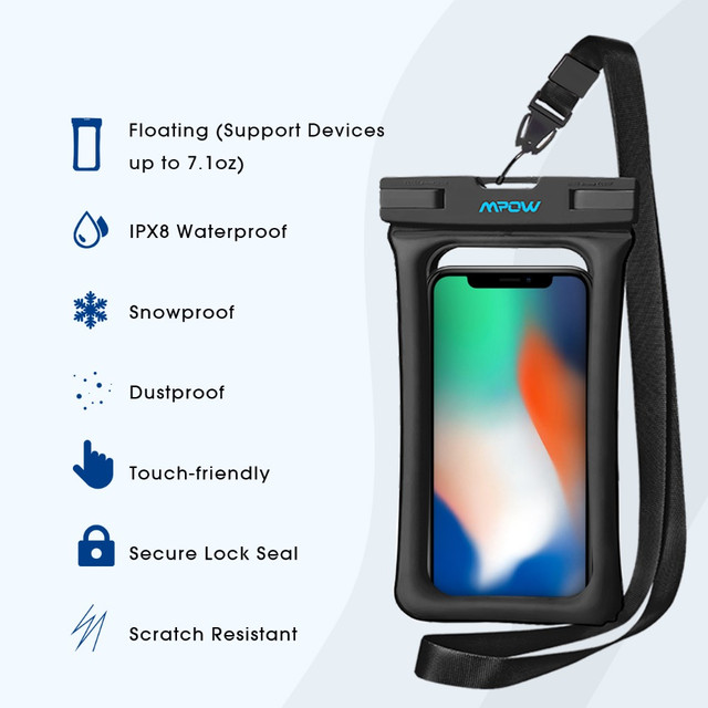 Чехол водонепроницаемый Mpow Floating v2 Waterproof Case для мобильных телефонов или документов Черный