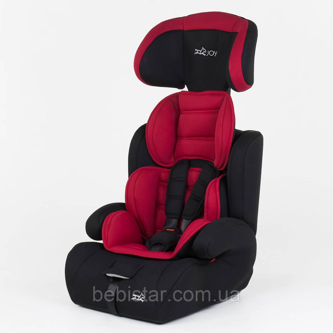 Детское автокресло черное с красным вкладышем JOY