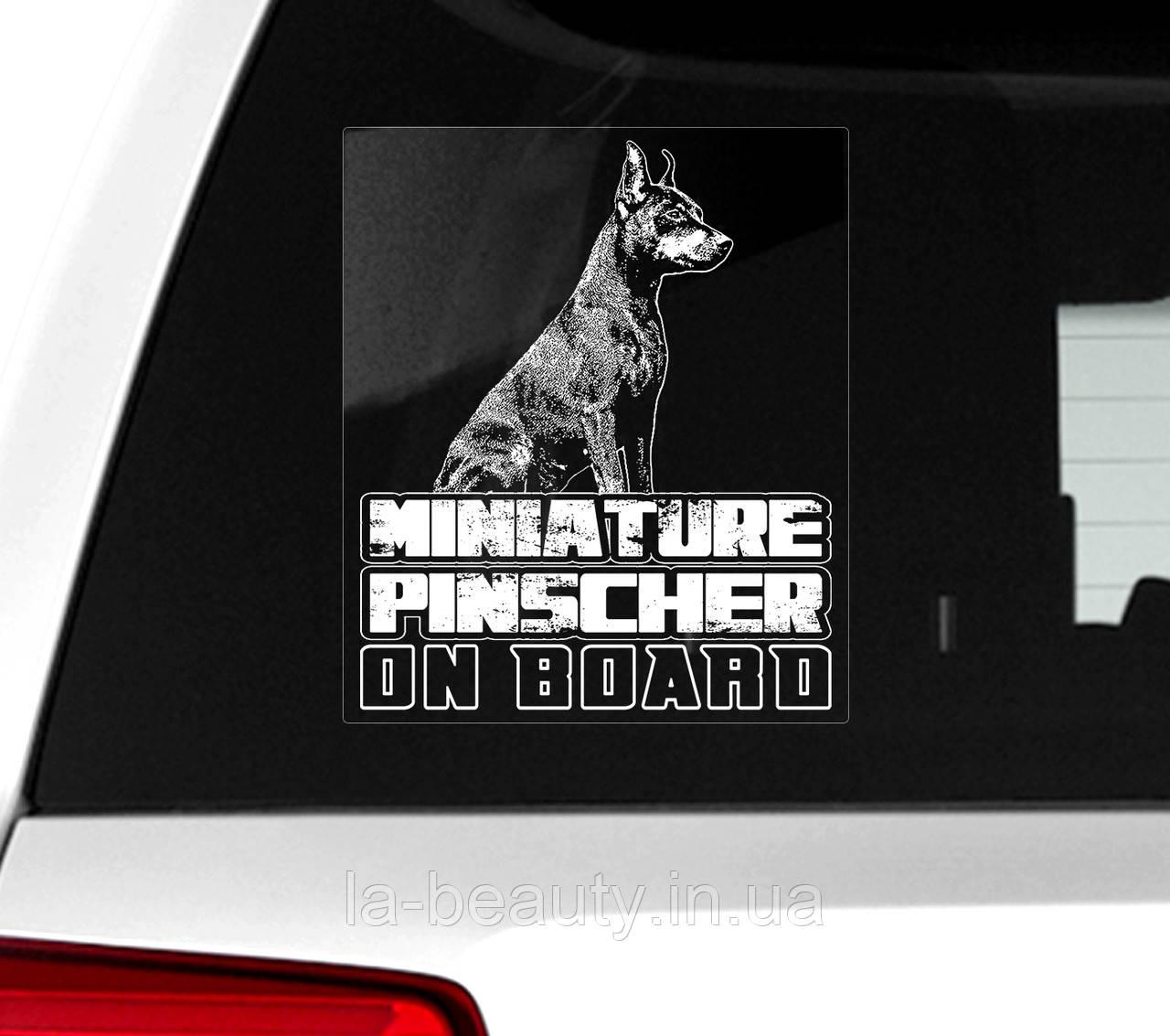 Наклейка на машину Цвергпинчер на борту (Миниатюрный пинчер)