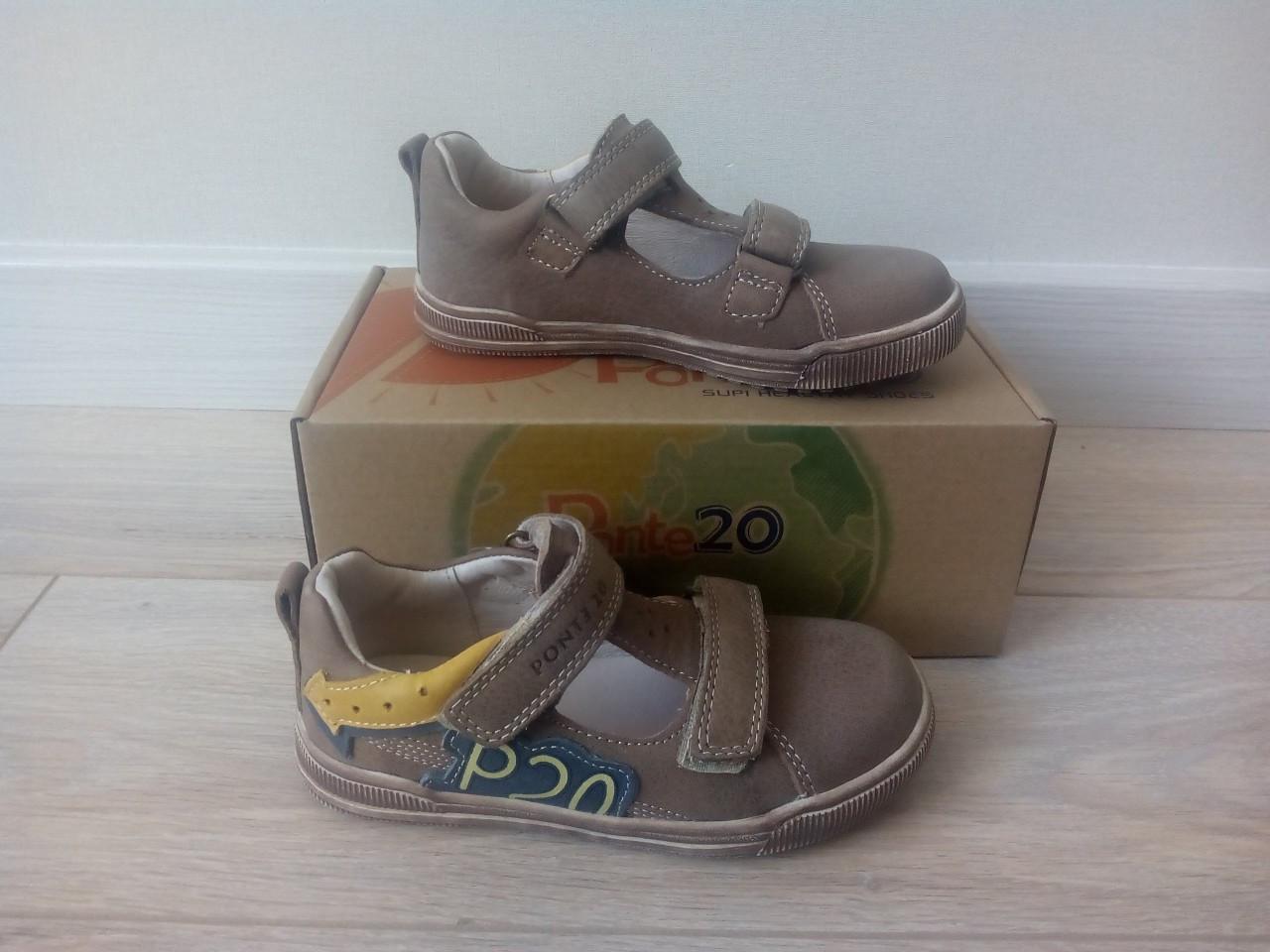 Детские кожаные туфли фирмы Ponte20, цвет коричневый, разные размеры