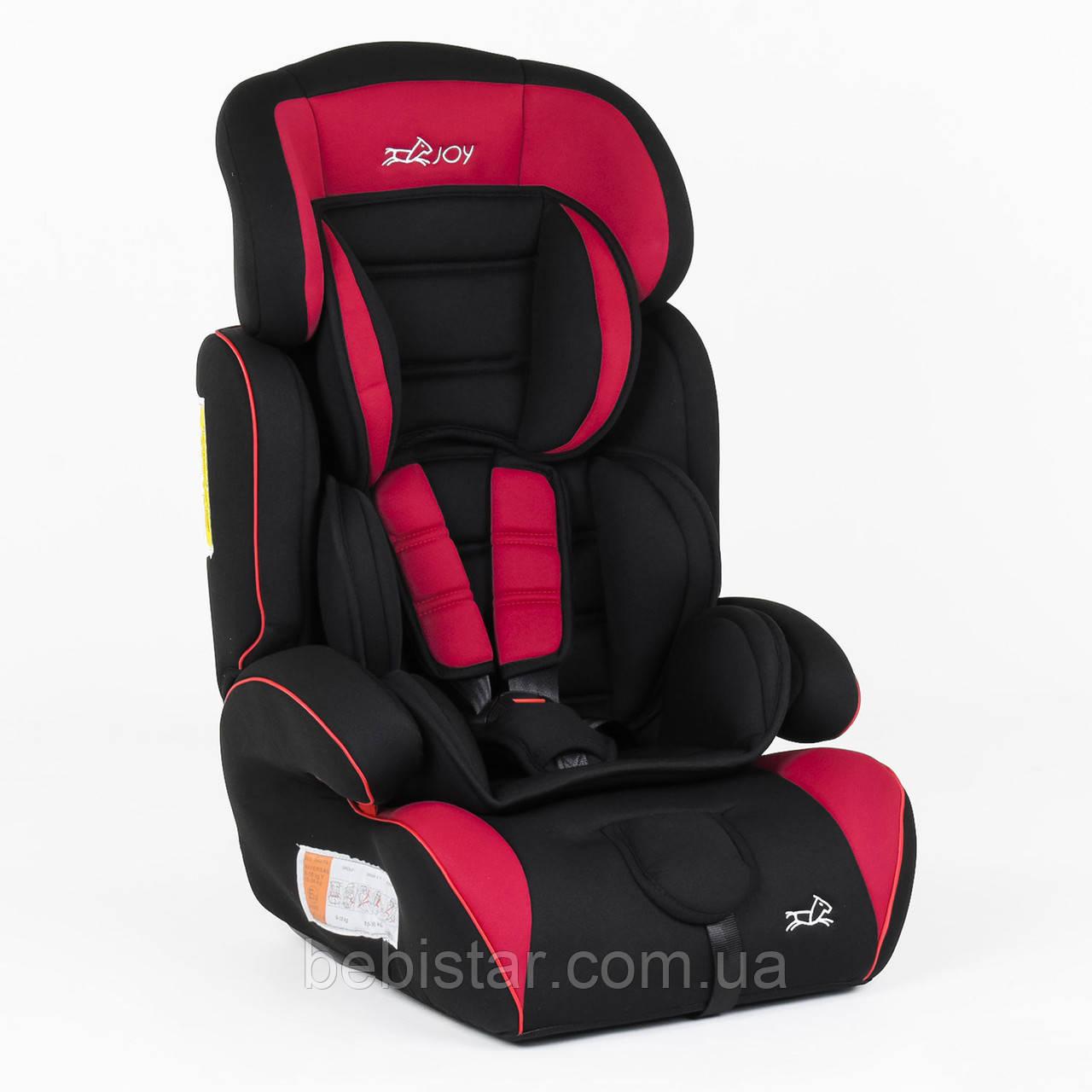 Детское автокресло черное с красным вставками JOY от 1 года до 12 лет