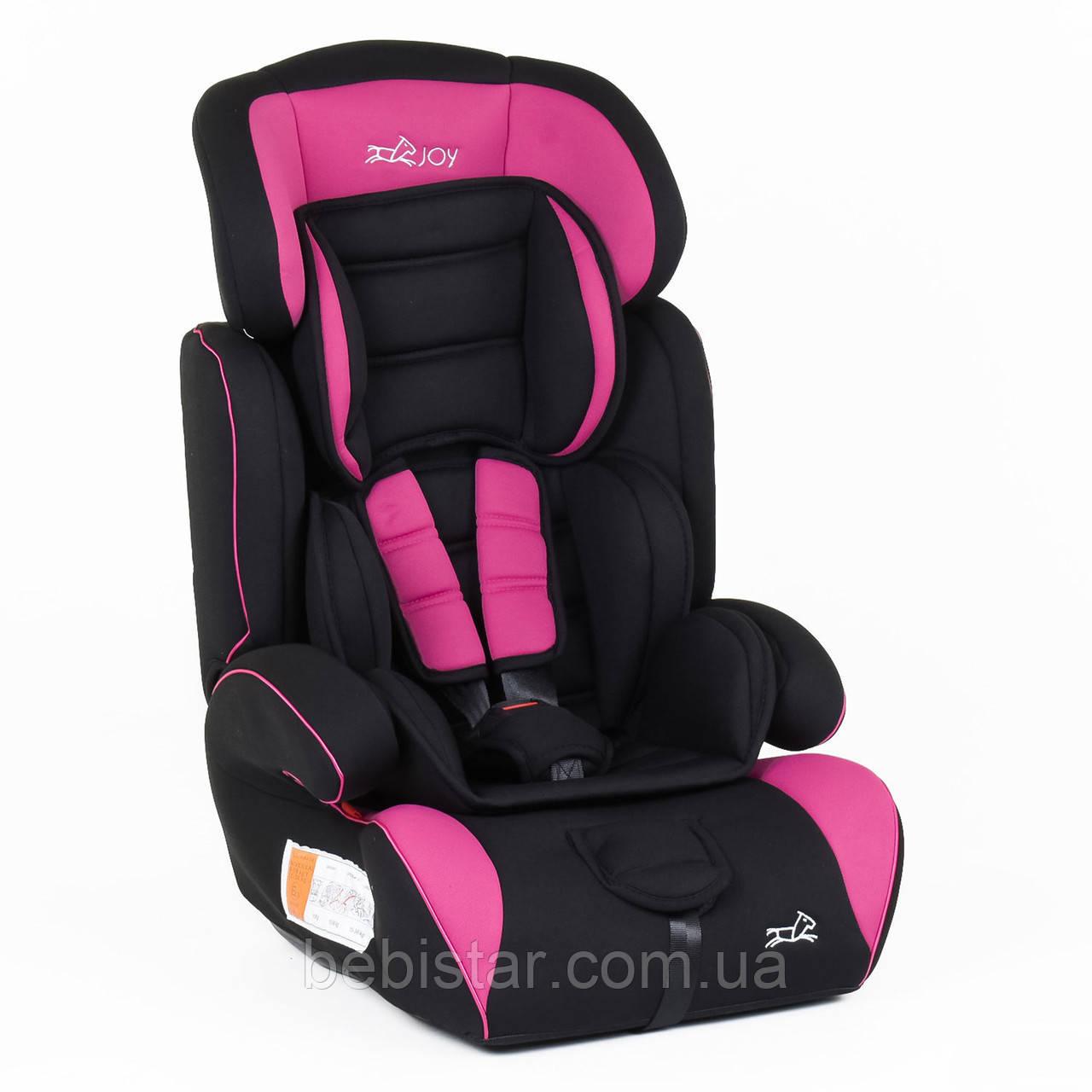 Детское автокресло черное с розовыми вставками JOY