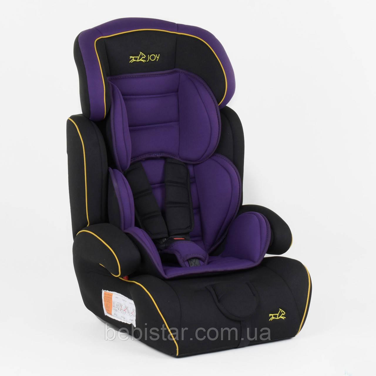 Детское автокресло черное с фиолетовым вкладышем JOY от 1 года до 12 лет