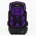 Детское автокресло черное с фиолетовым вкладышем JOY от 1 года до 12 лет, фото 2