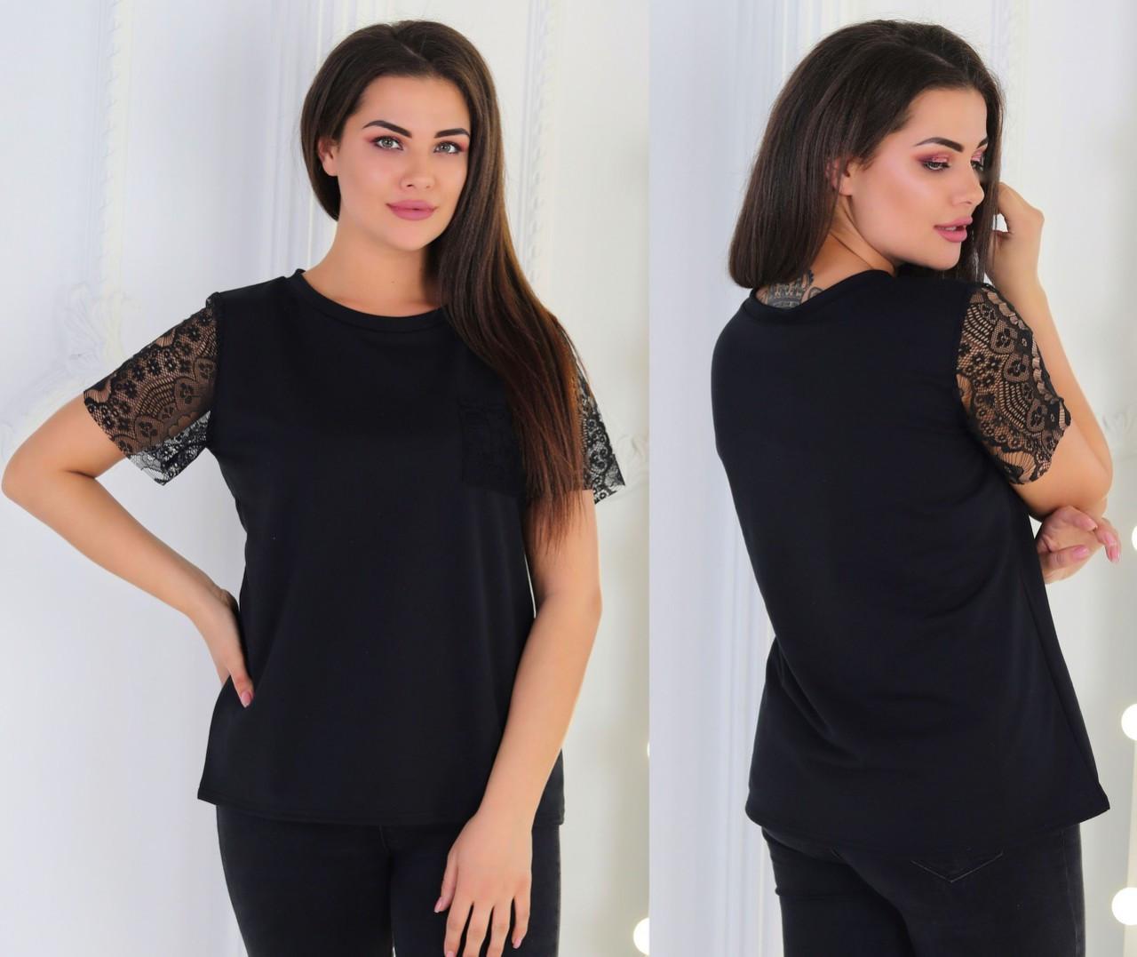 Жіноча літня футболка з мереживними рукавами, батал великі розміри