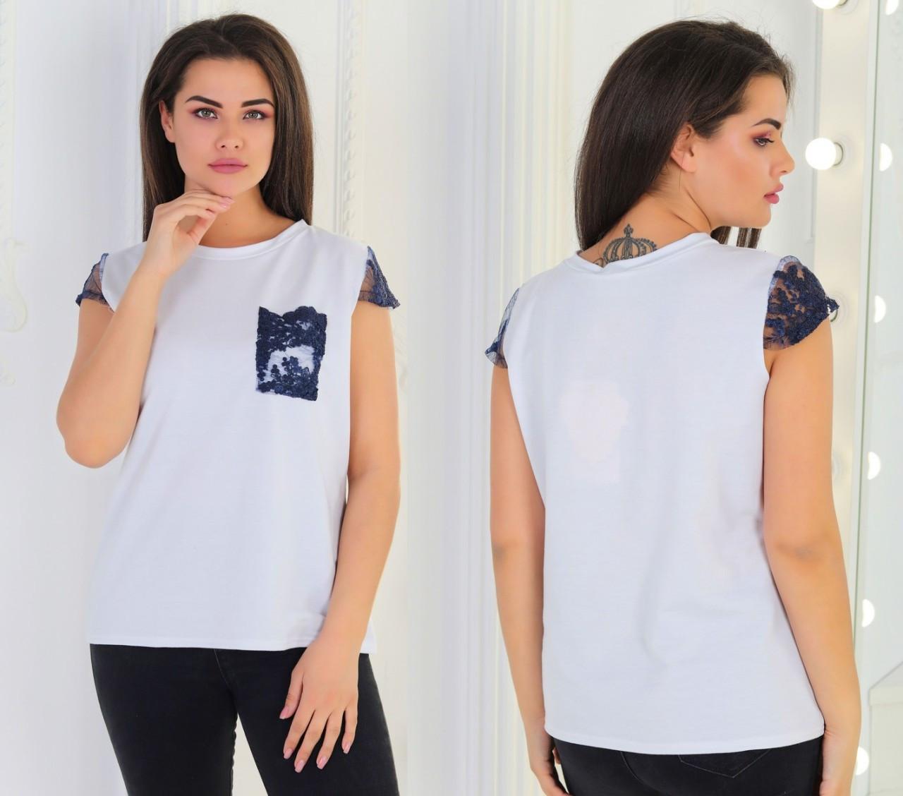 Женская летняя футболка с кружевными вставками, батал большие размеры