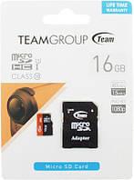 Карта памяти Team microSDHC class10 UHS-1 SD adapter 16Gb Black #I/S