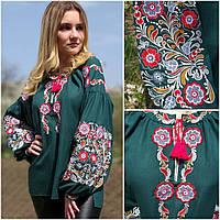 """Зеленая вышитая блузка """"Ярославна2"""" для женщин, домотканка, 42-54 р-ры, 940/790 (цена за 1 шт. + 150 гр.)"""