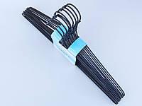Плечики тремпеля металлический в полиэтиленовом покрытии черного цвета,длина 40,5 см, в упаковке 10 штук