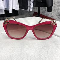 Солнцезащитные очки женские Miu Miu Crystal-Embellished Red/Bordo