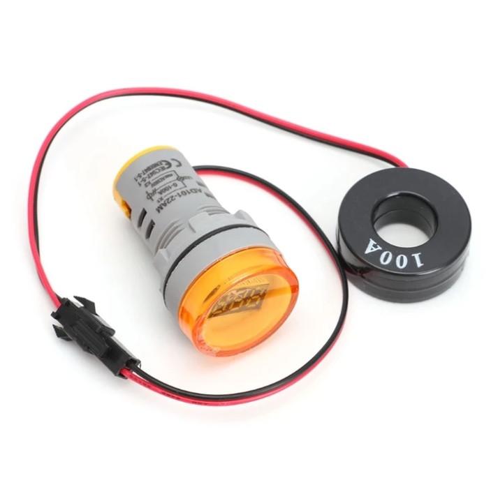 Цифровой амперметр AC 0-100A 220 В желтый дисплей