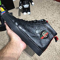 Мужские кроссовки Gucci Signature Web High Top Black/Blue/Red