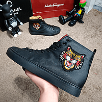 Мужские кроссовки Gucci High Top With Angry Cat Black