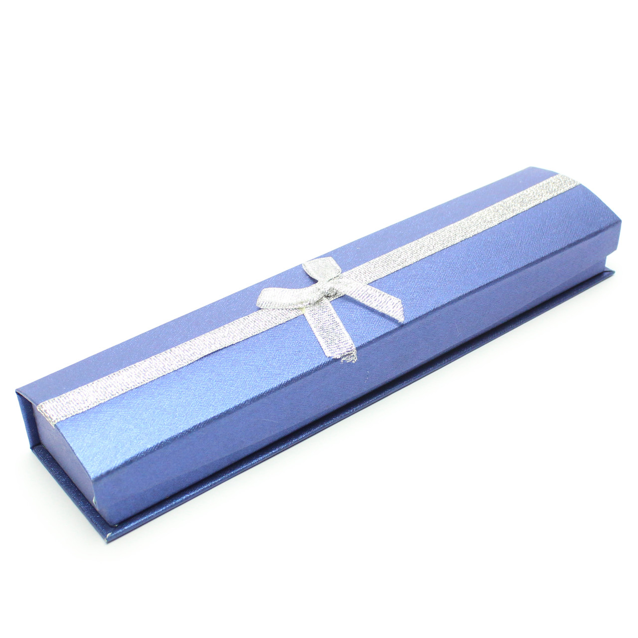 Подарочная коробочка для браслета синяя с серебристой лентой