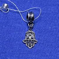 Серебряная бусина-шарм с цирконием Рука Фатимы 906-ч
