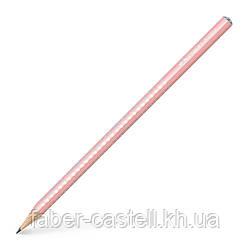 Карандаш чернографитный Faber-Castell Grip Sparkle Pearl нежно-розовый корпус, 118201