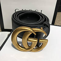 Мужской ремень Gucci with Double G Buckle Leather Black