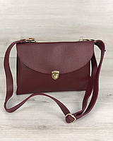 Бордовая сумка клатч 60127 через плечо маленькая два отдела, фото 1