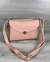 Сумка-клатч розовая 60130 маленькая молодежная через плечо пудра, фото 1