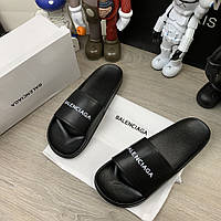 Мужские тапки Balenciaga Logo Slide Sandals Black
