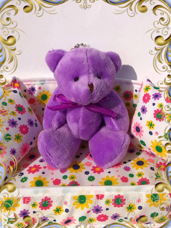 Мини плюшевый мишка - 11 см (фиолетовый).