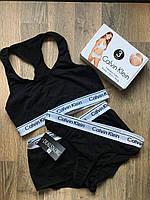 Комплект белья - в стиле Calvin Klein женский тройка (топ+стринги+шорты) Чёрный