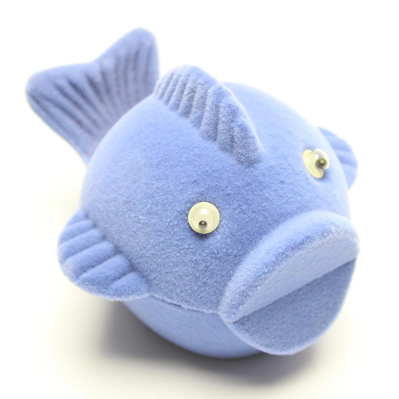 """Футляр бархатный под кольцо """"Рыба""""голубой"""