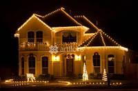 Красиво украсить фасад дома на новый год, иллюминация дома, новогоднее освещение фасадов