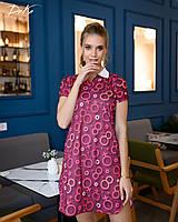Платье женское короткое с отложным воротничком с принтом (К28320), фото 1