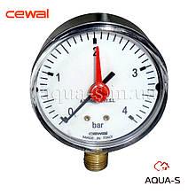 """Манометр для воды CEWAL (вертикальный) 4 бар  G 1/4"""" (D 63 мм.) с индикатором (Италия)"""
