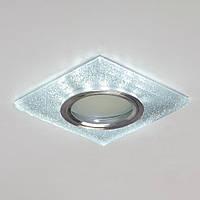 Точечный светильник со встроенной LED подсветкой белый холодный цвет под лампочку MR16 СветМира D-7128FS