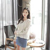 Женское New Trend Полые Вышитые Свитера Фонарь Грибок V-образным Вырезом Свободные Пуловеры - 1TopShop, фото 3