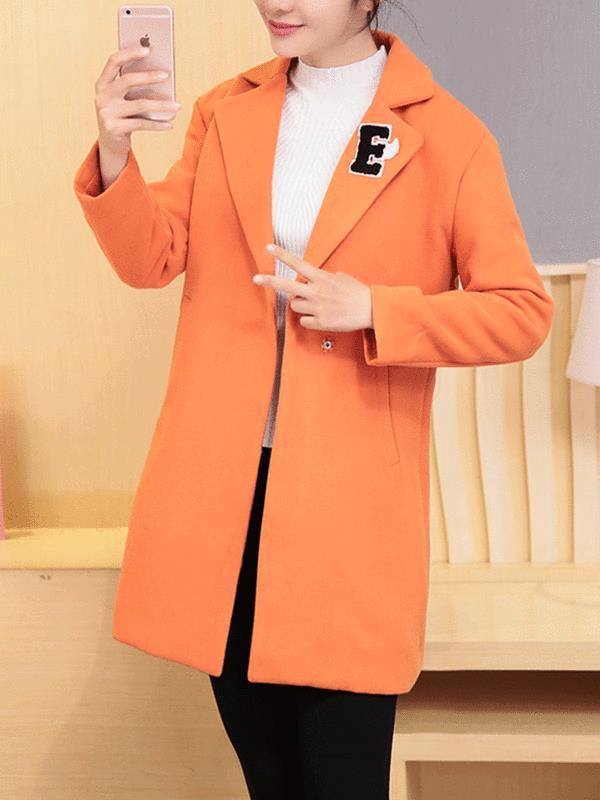 Женские повседневные аппликации Пальто с пуговицами с отложным воротником Верхняя одежда - 1TopShop
