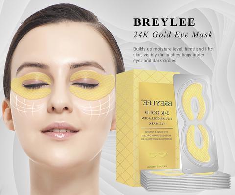 Патчи для глаз с золотом 24К, пептидами и коллагеном черной икры BREYLEE 24K Gold Eye Mask Caviar Collagen