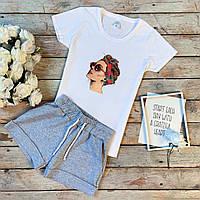 Комплект женский летний футболка и шорты из хлопка бело-серый с дамой в очках