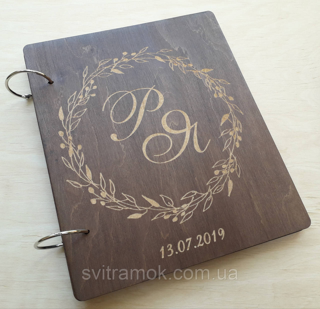 Весільна книга для побажань з дерева