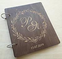 Весільна книга для побажань з дерева, фото 1