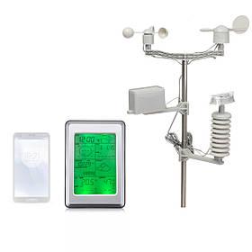 БеспроводнаяТермометрГигрометрссенсорнымэкраном Метеостанция Термометр На открытом воздухе Прогноз Датчик Часы - 1TopShop