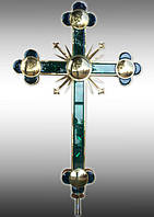 Крест из нержавеющей стали и ограненного стекла с напылением нитрид титана