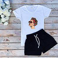 Комплект женский летний футболка и шорты из хлопка бело-черный с дамой в очках