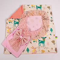 Конверт на выписку летний нежно розовый с кружевом + плед лесные истории с лососевым плюшем BabySoon 78х85см, фото 1